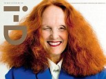 Vogue rock star: With her flaming red hair, Vogue's creative director Grace Coddington, 71, posed for the latest issue of i.D magazine wearing a cobalt blue Céline coat