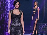 The thigh factor: Nicole Scherzinger shows off a lot of leg in daring black dress as Tulisa goes girlie in lace mini