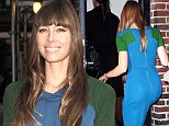 Newlywed glamour! Jessica Biel looks fabulous in clingy blue dress as she arrives at Late Night with David Letterman show in New York