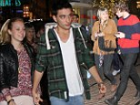 The Wanted member Tom Parker, Jay McGuiness and Siva Kaneswaran with their girlfriend have dinner at the Cheescake Factory at the Grove