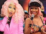 Saving her blushes: Nicki Minaj covers up in pink suit after yesterday's nip-slip