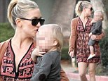Kate Hudsonshowers affection on her youngest son Bingham at children's party