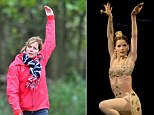 And stretch... Strictly Come dancing judge Darcey Bussell appeared to be pulling some poses reminiscent of her Ballet dancing hey day, right, as she walked her two dogs Lolli and Pop out on Wimbledon Common