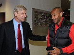 Fancy seeing you here: Arsenal manager Arsene Wenger with former Arsenal player Thierry Henry before the Tottenham derby
