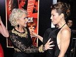 Hands on: Mirren was seen touching Jessica's dress as they made their way down the red-carpet