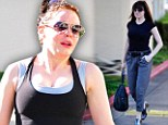 What a waste of hard work! Rose McGowan fails to flatter her fabulous figure in baggy grey trousers after slaving away at the gym