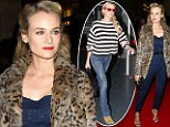 Leopard and lace: Diane Kruger glams it up on the red carpet just hours after she touches down in Paris