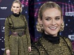The mane event: Diane Kruger steps out in Heidi braids as she lights up Paris in festive ceremony