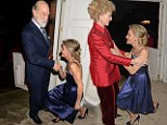 How low can you go? Prince and Princess Michael of Kent receive floor-skimming curtsies from writer Leonie Frieda at party