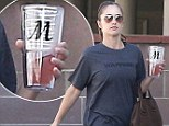 Minka Kelly carried a coffee cup with her initial on the side as she headed to the gym in Los Angeles on Thursday.