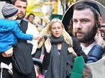 Ouch! Naomi Watt's son Samuel tugs at his mother's hair as the pair visit Liev Schreiber on set of his new film in which he dons traditional Jewish locks