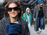 Just don't call her a style icon: Sarah Jessica Parker nails the fall school run look in a boucle coat and peaked beanie hat