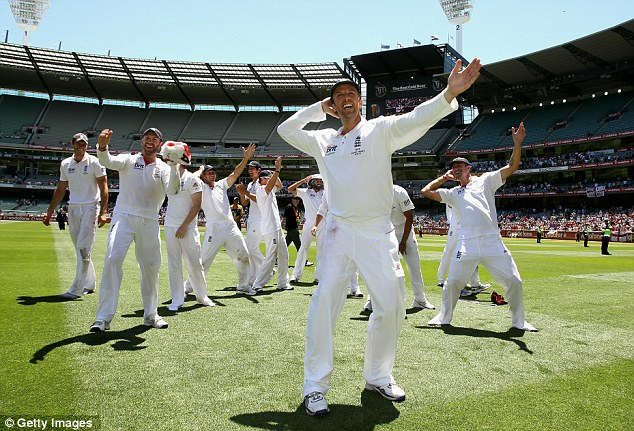 Team spirit: Under Strauss England became a tight unit, as displayed by the 'sprinkler' celebration that accompanied their Ashes win in Australia