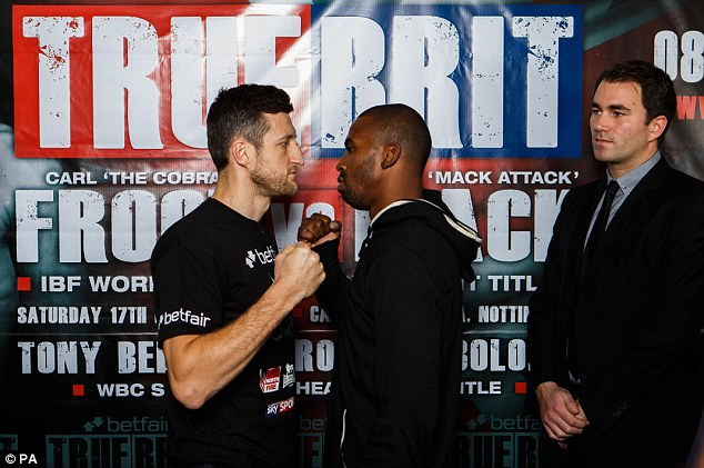 Head-to-head: Carl Froch and Yusaf Mack square off ahead of their world title fight in Nottingham on Saturday