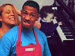 Mariah Carey and Nick Cannon's twin son Moroccan follows in his parents' musical footsteps as he plonks away on the piano
