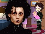A real cut-up: Johnny Depp reprises his Edward Scissorhands character for Family Guy gag