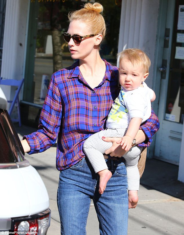 Doting mother: January Jones treated her son Xander to a shopping trip in Los Feliz on Tuesday
