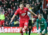 Going ahead: Adam Lallana celebrates putting Southampton 1-0 up