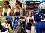 Indianapolis Colts cheerleaders from left to right Crystal Ann and Megan M get their heads shaved by Colt mascot Blue