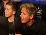 Not your average babysitter: Gordon Ramsay treated Brooklyn Beckham to a sports night out as they cheered on Ricky Hatton during his comeback match on Saturday