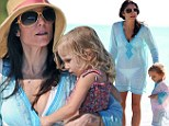 Like mother, like daughter: Bethenny Frankel and her two-year-old tot enjoy day at the beach in Miami in colour compatible outfits