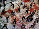 WARNING GRAPHIC CONTENT: tHE BLOODY floor of a mosque in New Delhi, India, as Shiite Muslims flagellate themselves today during a Muharram procession marking Ashura