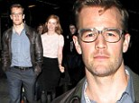 Saturday night at the movies! James Van Der Beek dons cool leather jacket and glasses for date night with wife