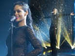Rihanna displayed her enviable figure as she was soaked with water in barely-there black lace dress on the X Factor on Sunday