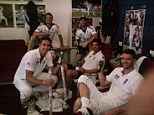 Well-earned beer: (clockwise from top left) Graeme Swann, Matt Prior, Alastair Cook, James Anderson and Kevin Pietersen toast victory in the dressing room