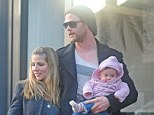 Family guy: Actor Chris Hemsworth spends time with his family during a shopping trip in Notting Hill on Sunday