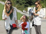 Just the girls! Jessica Alba takes daughter Honor out for early Christmas shopping spree in stylish leggings and oversize jumper combo