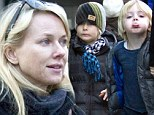 Mummy's little comedians: Naomi Watts's sons Sasha and Samuel are entertaining already as they pull funny faces