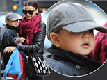 A stylish Miranda Kerr and Flynn head into the cold in New York City