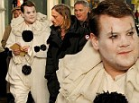 The tears of a clown: James Corden looks a little miserable as he shoots scenes for latest film in a clown suit