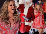 Diva: Mariah Carey glittered in a red and silver tulle dress as she took the stage in Rockefeller Center in New York City on Tuesday