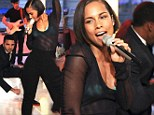 Sheer delight! Alicia Keys flashes turquoise bra while performing new single on American morning television