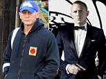 License to chill: Daniel Craig's work-a-day wardrobe (right) is a far cry from 007's suave suited look (left)