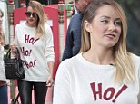 The former Hills star stepped out on Extra's stage in California wearing a very festive jumper on Wednesday.
