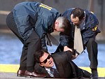 Leonardo DiCaprio arrested by FBI as he films dramatic waterside scenes for The Wolf Of Wall Street