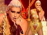 Golden girl: Ke$ha dons a shiny bodysuit as she performs latest single on the Graham Norton show