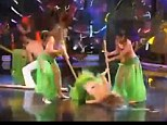 The prop collapsed while Miss Madrid was balancing on it, sending the dancer crashing to the floor face-first