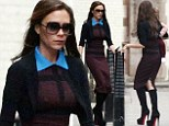 From the runway to the pavement: Stick thin Victoria Beckham models her own design as she arrives at London hotel