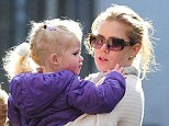 Mother and daughter: Amy Adams and daughter Aviana stop by a New York playground on Wednesday
