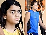 No girls allowed! Blanket and Prince Jackson take some time out on boys only shopping trip