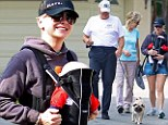 the 35-year-old made working out a family affair as she took her son Jack for a hike in Los Angeles on Wednesday.