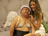 Not so nice! Alessandra Ambrosio keeps her clothes on as Chelsea Lately star Chuy shows his bra off in this Twitter picture