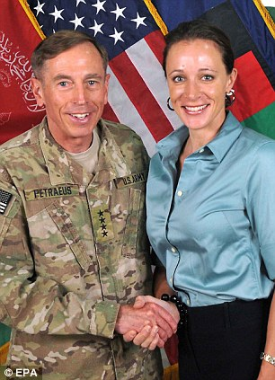 Affair: Former CIA boss David Petraeus is pictured with Paula Broadwell, his biographer and alleged mistress