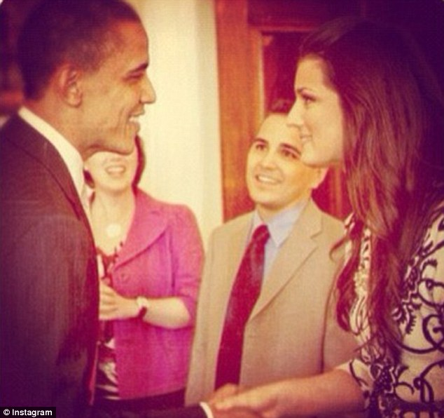 Connected: Bobbie is pictured with President Obama, who had nominated her father for a top army role