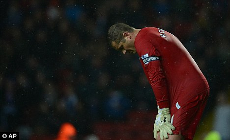 Bad times: Paul Robinson after relegation was confirmed for Blackburn