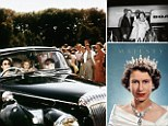 Windsor, Berkshire, England, UK Queen Elizabeth II driving her children Prince Charles and Princess Anne at Windsor, watched by a group of onlookers, 1957